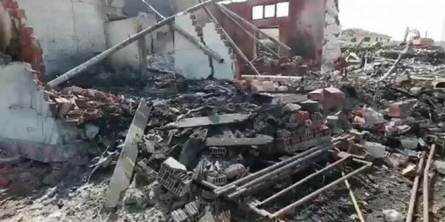 Patlayan fabrikanın içinden detay görüntüler