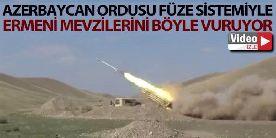 Azerbaycan ordusu füze sistemiyle Ermeni mevzilerini vuruyor