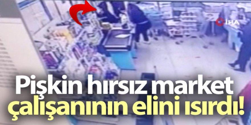 Pişkin hırsız market çalışanının elini ısırdı