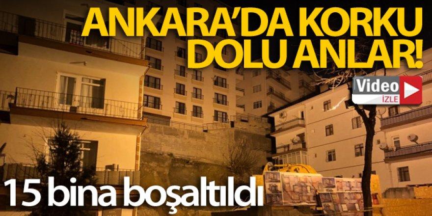 Ankara'da çökme tehlikesi olan 8 katlı apartman ve 15 bina boşaltıldı