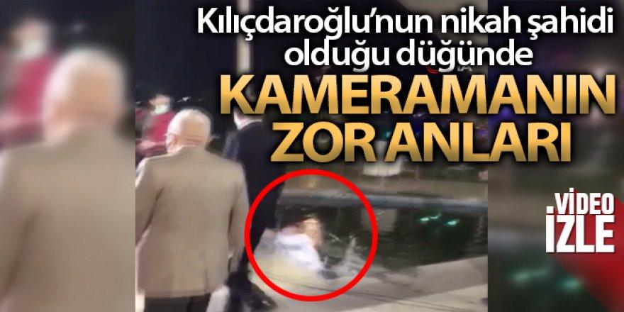 Kılıçdaroğlu'nun nikah şahidi olduğu düğünde kameramanın zor anları